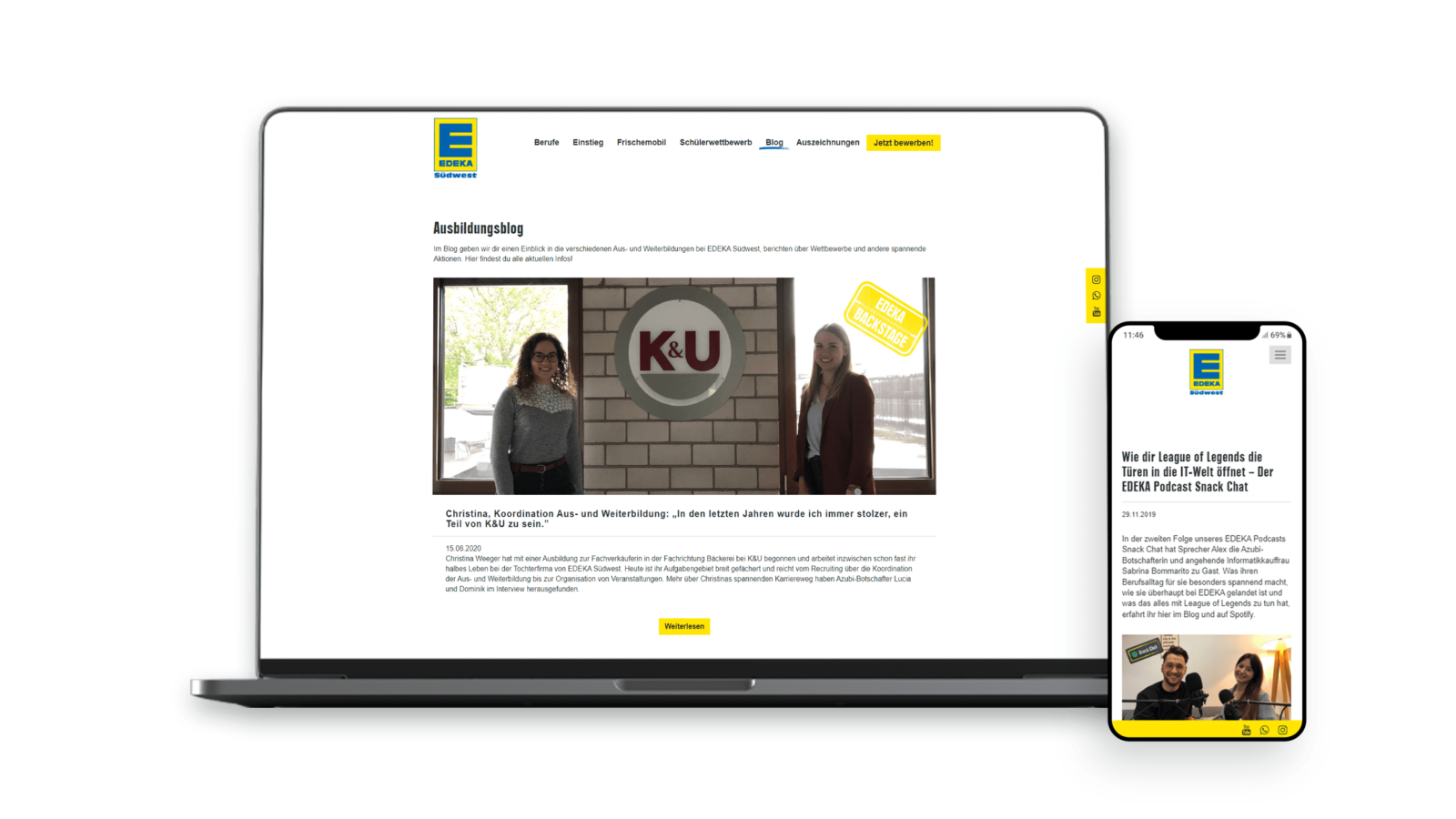 EDEKA Ausbildungskampagne Desktop Mockup